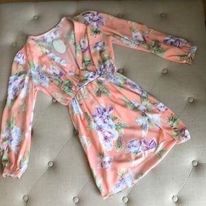 Honey belle flora long sleeve wrap dress